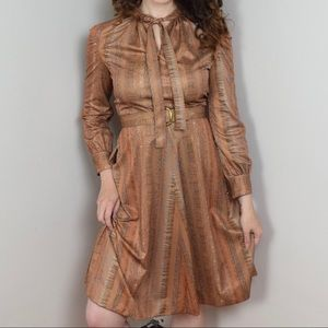 Dresses & Skirts - Belted Vintage 70s Brown Dress